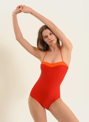 Morhipo Beach Kadın Colorblock Straplez Mayo MBKSS20MY0051 Kırmızı